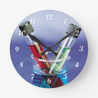 Laboratory Test Tubes Round Clock