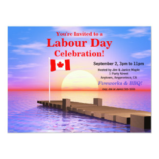 Labour Day Party Canadian Flag on Dock 17 Cm X 22 Cm Invitation Card