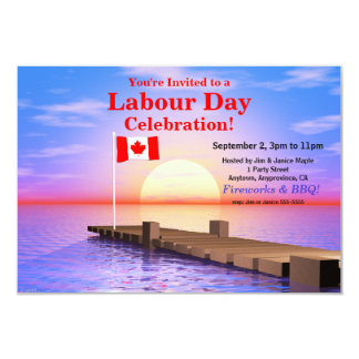 Labour Day Party Canadian Flag on Dock 9 Cm X 13 Cm Invitation Card