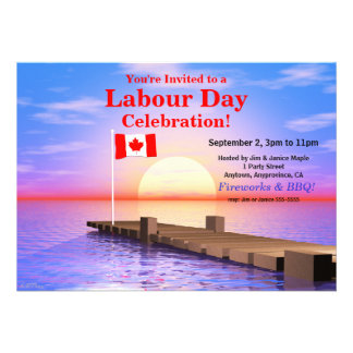 Labour Day Party Canadian Flag on Dock Custom Invitation