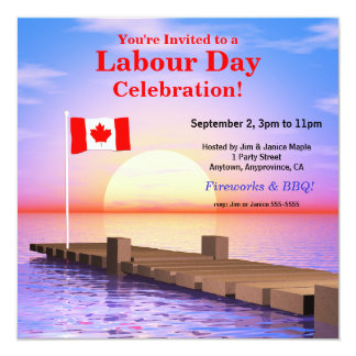 Labour Day Party Canadian Flag on Dock 5.25x5.25 Square Paper Invitation Card