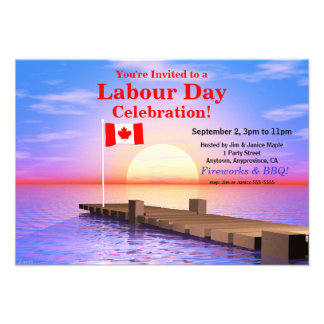 Labour Day Party Canadian Flag on Dock Custom Announcement