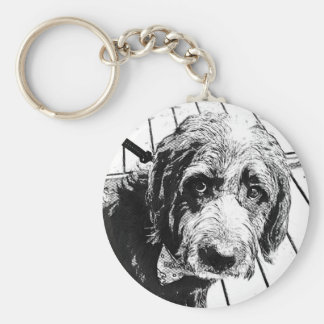 Labradoodle Black Shaggy Button Key Ring