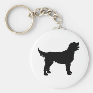 Labradoodle Dog (in black) Key Ring