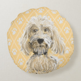 Labradoodle Dog Paintings / Labradoodle Love Round Cushion