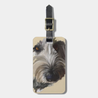 Labradoodle Luggage Tag w/Leather Strap