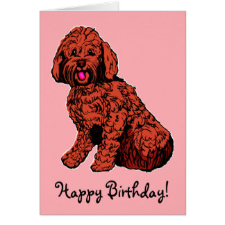 Labradoodle Pink Happy Birthday Card