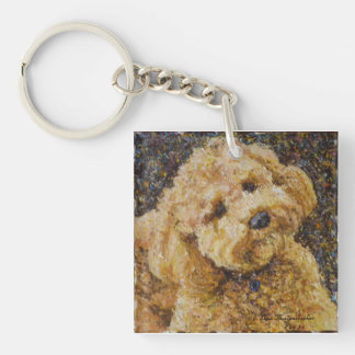 Labradoodle Square Key Chain