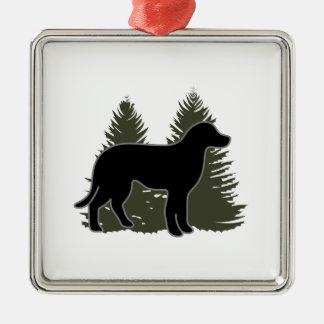 Labrador and Trees Silver-Colored Square Decoration