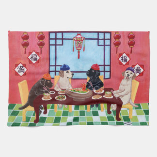 Labrador Chinese Restaurant Painting Tea Towel