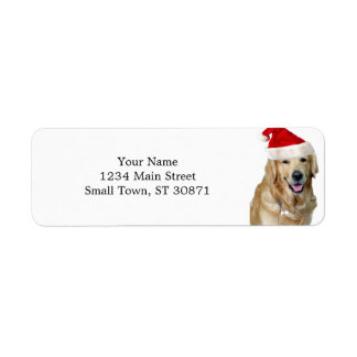 Labrador christmas-santa claus dog-santa dog-pet return address label