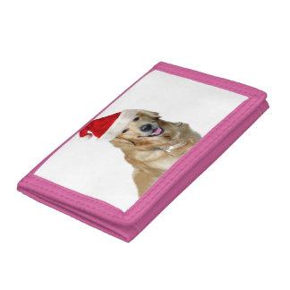 Labrador christmas-santa claus dog-santa dog-pet tri-fold wallets