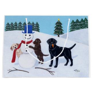 Labrador Christmas with Snowman Large Gift Bag