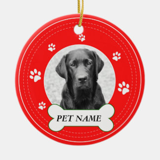 Labrador Dog Red Paws Print Ceramic Ornament