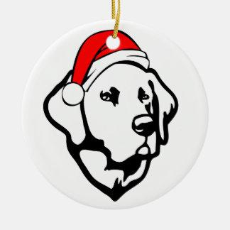 Labrador Dog with Christmas Santa Hat Round Ceramic Decoration