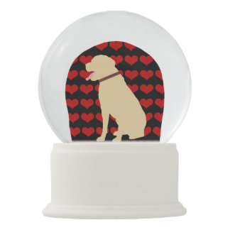 Labrador Dog With Love Heart Pattern Snow Globes