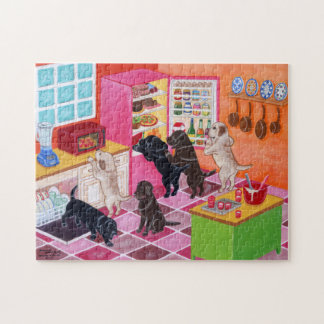Labrador Kitchen Party Painting Jigsaw Puzzle
