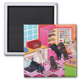 Labrador Kitchen Party Painting Square Magnet