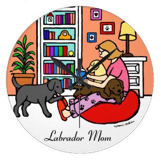 Labrador Mom Reading Large Clock