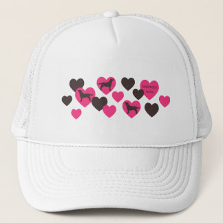 Labrador Outline and Hearts Pink & Dark Brown Trucker Hat