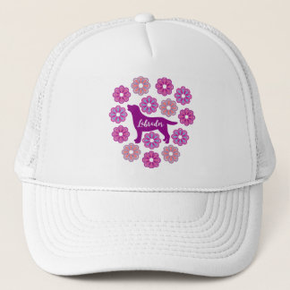 Labrador Outline and Purple Flowers new Hat