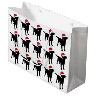 Labrador Retriever Black In Red Santa Hat Large Gift Bag