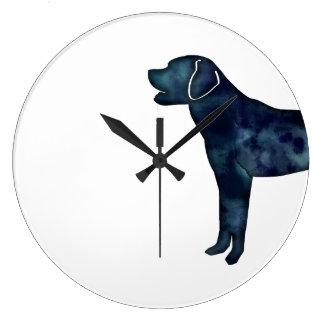 Labrador Retriever Black Watercolor Silhouette Large Clock