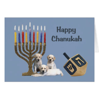 Labrador Retriever  Chanukah Card Menorah Dreidel
