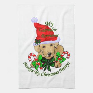 Labrador Retriever Christmas Tea Towel