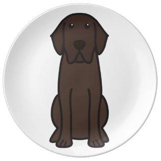 Labrador Retriever Dog Cartoon Porcelain Plate