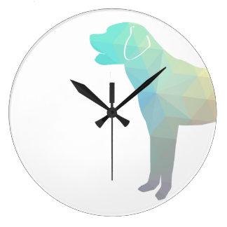 Labrador Retriever Geo Pattern Silhouette - Pastel Large Clock