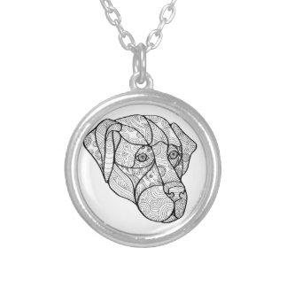 Labrador Retriever Mandala Silver Plated Necklace