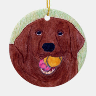 Labrador Retriever Ornament, Profound Hounds #4 Round Ceramic Decoration