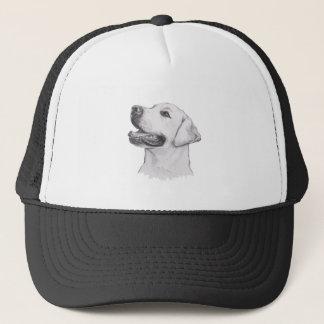 Labrador Retriever profile Portrait Drawing Trucker Hat