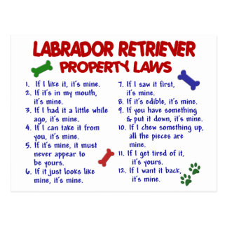 LABRADOR RETRIEVER Property Laws Postcard
