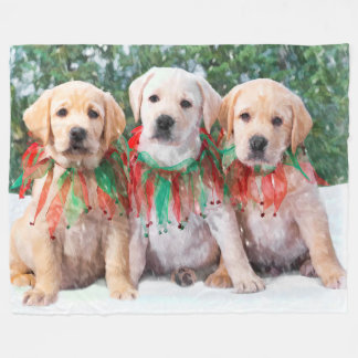 Labrador Retriever Puppies Christmas Fleece