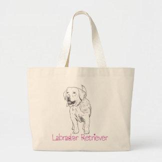 Labrador Retriever Puppy Dog Illustration Cartoon Large Tote Bag