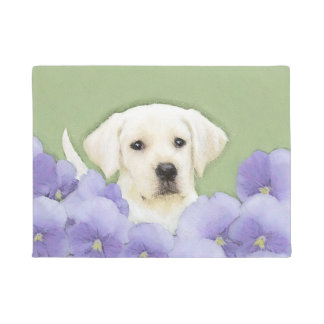 Labrador Retriever Puppy Painting Original Dog Art Doormat