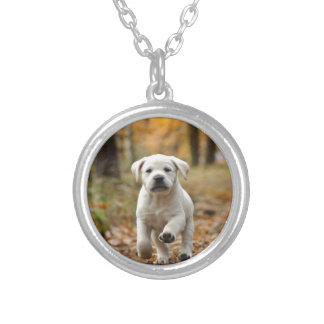 Labrador retriever puppy silver plated necklace