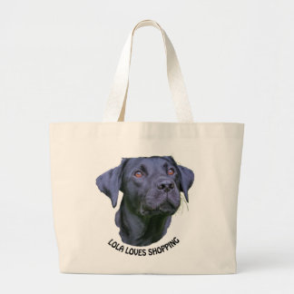 Labrador Retriever Puppy - Who Loves Shopping Large Tote Bag