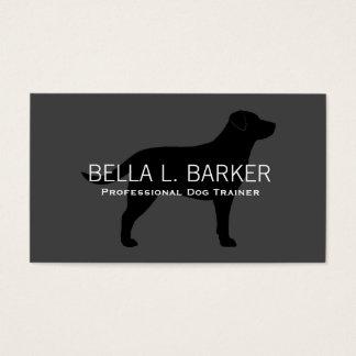 Labrador Retriever Silhouette Black on Grey Business Card