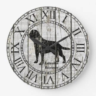 Labrador Retriever Weathered Wood Large Clock