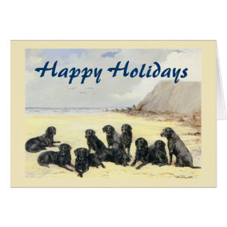 Labrador Retrievers On The Beach Christmas Card