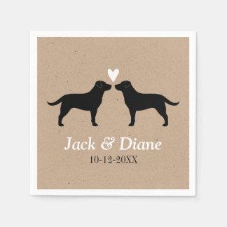 Labrador Retrievers Wedding Couple with Text Disposable Serviette