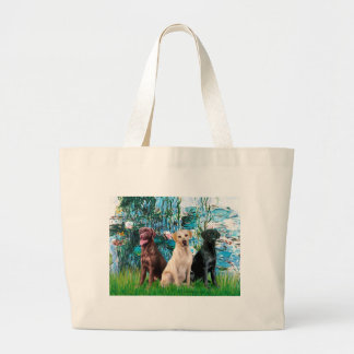Labrador Trio - Lilies 1 Large Tote Bag