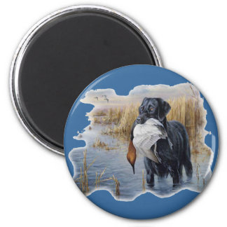 Labrador with Duck- Duck Hunting 6 Cm Round Magnet