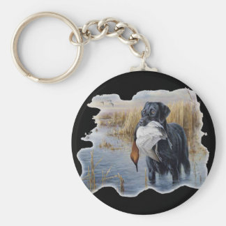 Labrador with Duck- Duck Hunting Basic Round Button Key Ring