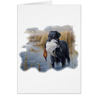 Labrador with Duck- Duck Hunting Greeting Card