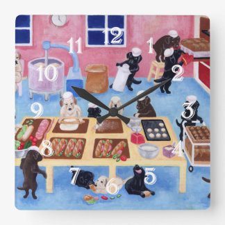 Labradors Bakery Painting Wall Clock