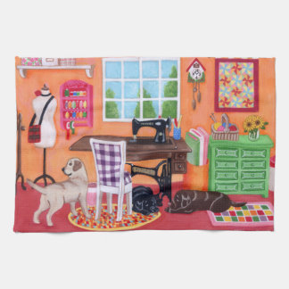 Labradors in Mom's Sewing Room Painting Tea Towel